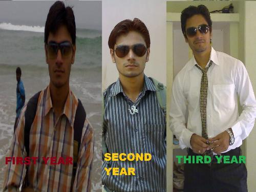 changes on me - these are the three photograph of mine which show the diferences on me  in these 3 year of btech life i hope u all find nothin on them if u  got any change plz coment on that,,,