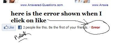 error in facebook like button - the pic shows how it looks like ..when I found an error while clicking a like button of facebook.