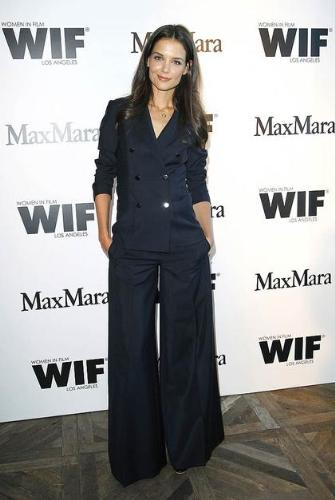 Pant suit - This Katie Holms. I don't like or ever have liked pants suits no matter who wears them!