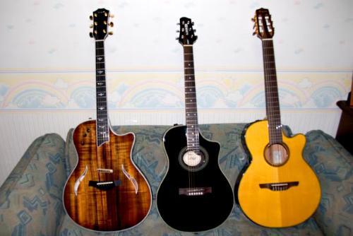 guitars - three guitars on the floor.