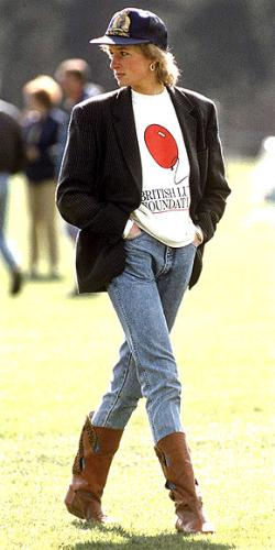 Princess Diana - She looked comfortable and still stylist with the jeans and boots.