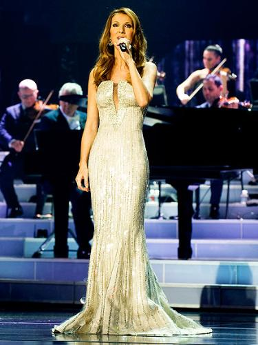 Celine Deion - Celine in a Armani dress while performing her Vegas show.