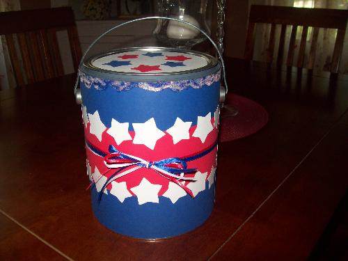 Decorated paint can - hostess gift for my sister for the 4th of July celebration
