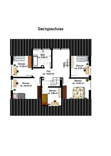 In Black with furniture - 2D Floor plan in black color.