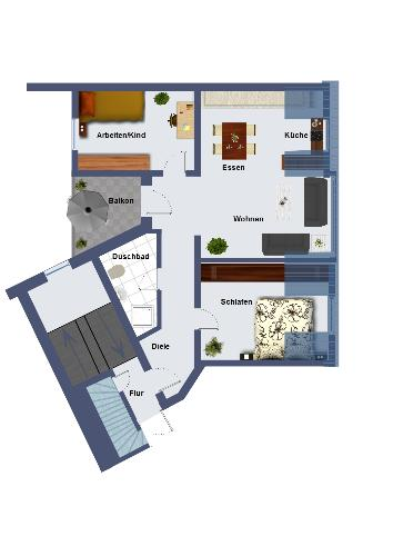In Design Cool with furniture! - 2D Floor plan in design cool with furniture.