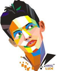 wpap pop art - Painting the human face with a collection of plane formed by imaginary lines.