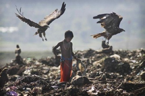 Childhood. - A street child searches for recyclable material in a garbage dump on the outskirts of Gauhati, India, Thursday, Nov. 19, a day ahead of Universal Children's Day.