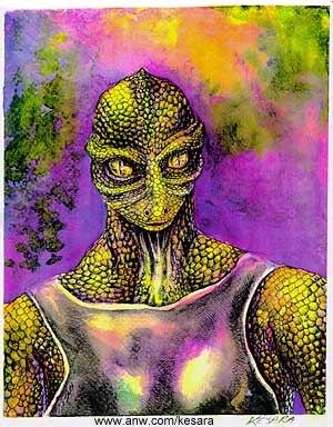 Reptilian Alien - A drawing of a reptilian alien.