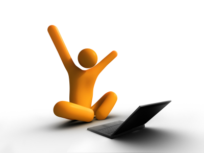 Yay Internet! - An orange figure with out stretched arms sitting in front of a laptop.