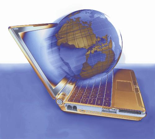 World Wide Web - An image of the planet coming out of a laptop.