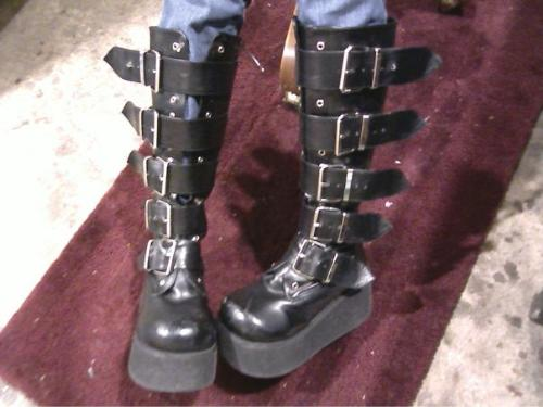 My Favorite Marilyn Manson Style Platform Boots - I bought these February 2011 around the time my last ex boyfriend broke up with me. I was really upset at the time, and I always wanted boots like these, but they're kind of expensive. So I knew I deserved them, so I went all out and bought them. I actually got them on eBay for only 50 bucks which is a steal for these type of boots.