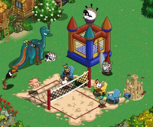 having fun - having fun on Farmville! Playing volleyball,going down a slide and jumping on one of those buncing thing!