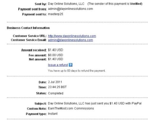 EarnTheMost.com Payment Proof from ONCash - Paypal Payment Proof from a new site we are following online.