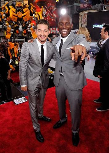 Transformers  - The stars of the 3rd Transformer movies in some awesome suits,Shia LaBoof and Tyrese Gibson.