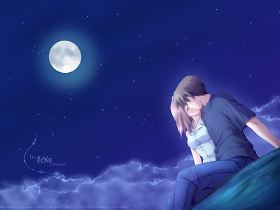 boy and girl kissing in the moonlight - boy and girl kissing in such a romantic way while watching the moonlight^^