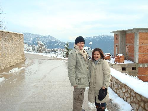 winter - it is in parnaso, winter and it is snowing we go to visit our sister working there
