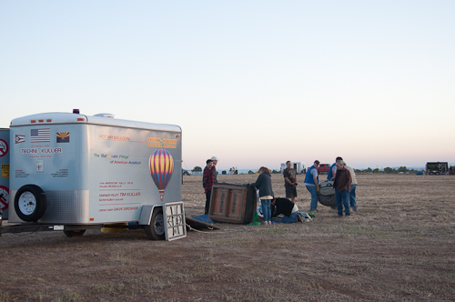Setting up - The Techni-Kuller balloon team inspects the gondola and begins to unpack the envelope.