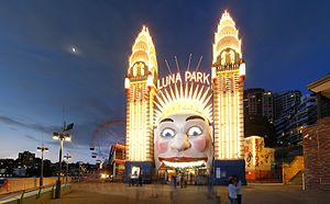 Luna Park - Luna Park in Sydney near the Harbour Bridge was first opened 4-10-1935. It has had a colourful history and is still popular today.
