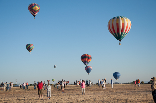 Off they go! - Eight hot air balloons in flight