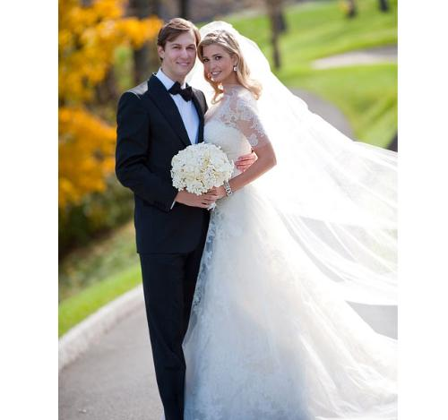 Ivanka Trump and Husband - This is a wedding photo of Ivanka Trump when she married Jared Kushner.