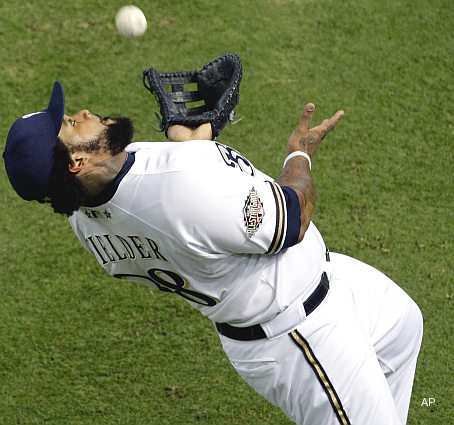 Prince Fielder - Milwaukee Brewers Prince Fielder making a crazy catch at last night's All-star game.