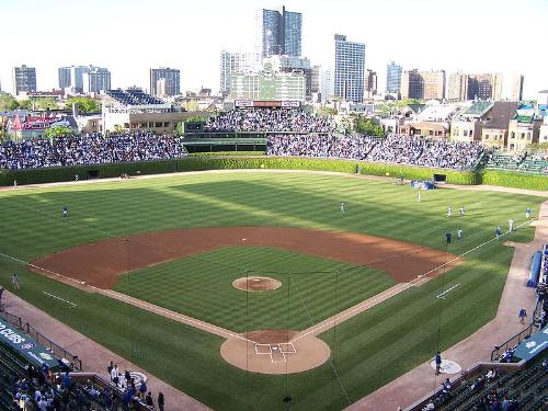 Wrigley Field - Home to the Chicago Cubs. It is also the second oldest stadium in baseball after zFenway.