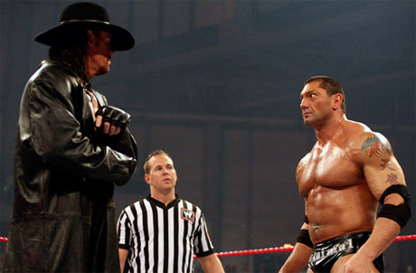 wwe - wwe wrestler batista and the legendary superstar undertaker