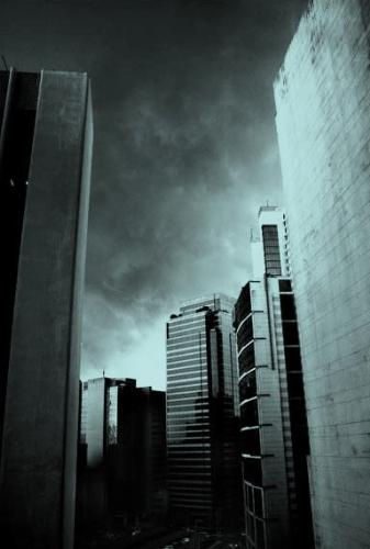 buildings - dark clouds
