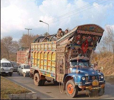 overloaded - it is not safe to move behind trucks