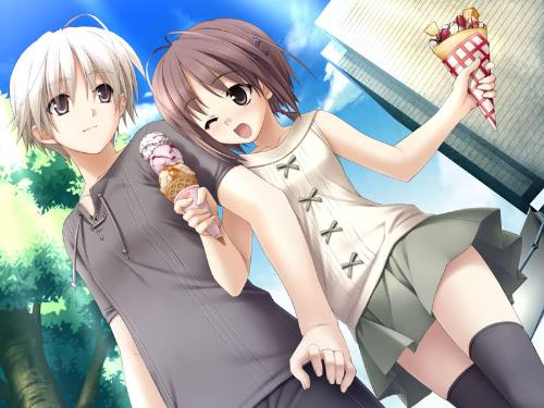 cutie couple^^ - boy and girl very happy eating an ice cream together^^