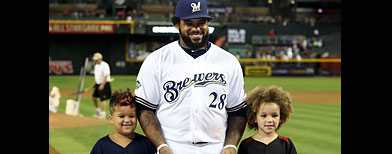 Prince and his boys - Prince Fielder,at tuesday nights Allstar game. He is with his sons Haven and Jaden.