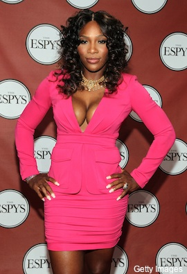 Serena Williams - Holy Cow! She looks like she is ready to burst of her dress! Yikes! It is way to revealing and tight! I can't believe she could walk in it!