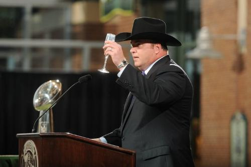 Coach McCarthy - Coach Mike McCarthy toasting the Packers the night they got their super bowl rings. I love the cowboy hat!