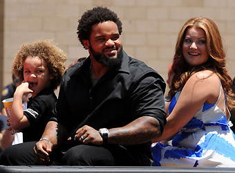 Prince Fielder - the tradation before the All Atar game is to have the starters ride in convertables to the stadium. Here is Brewers Prince Fielder with his wife Channel and son Haven. Son Jaden is not in the picure.