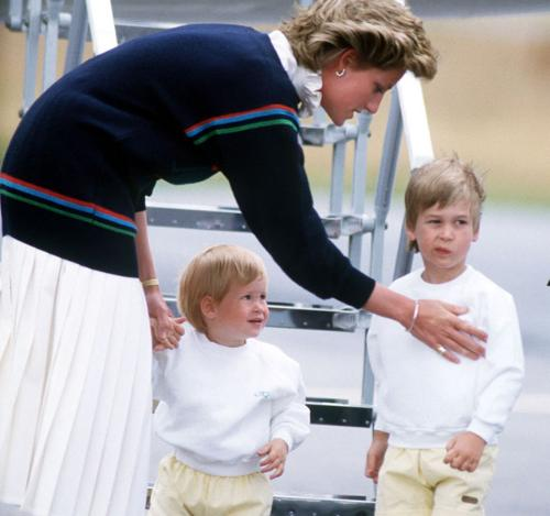 They were so cute at that age! - Princess Dians looked like she had her hands full when her sons,Harry and William,when they were young!