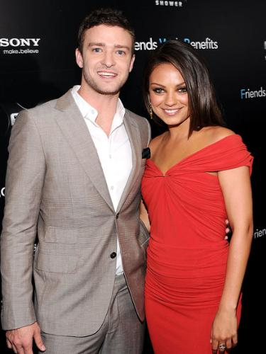 Justin and Mila - Justin Timberlake and Mila Kunis at the premire of their new movie 'Friends with benefits'.