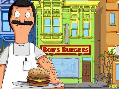 Bob - Bob infront of his place, Bob's Burger's. He love making burger's!