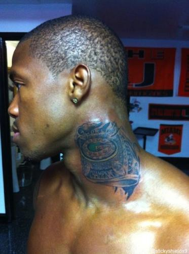 Good Grief! - Sam Shields of the Green Bay Packers decided on a tattoo! A copy of the Super Bowl XLV ring! On his neck no less and it is huge! Talk about crazy!