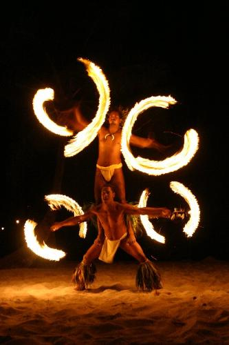 Fire Dancing - The fire dancing show in French Polynesia Tahit.