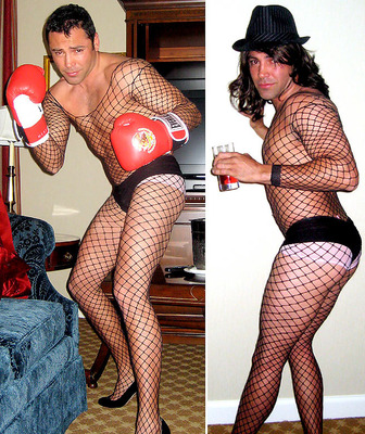 Boxers in fishnets - Yup! That is correct! Retired Boxer Oscar De La Hoya and current boxing champ Manny Pacquiao's!OMG! Not just in a fishnet bodysuit but also high heels! I am speechless!
