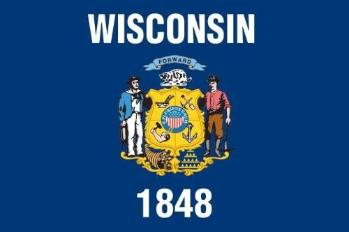 State Flag - This is the state flag of Wisconsin. We became a state in 1848.