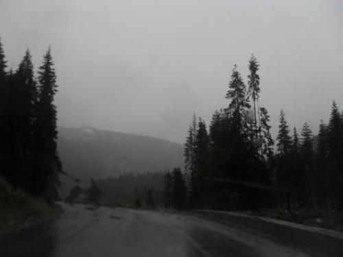 Heavy rain in the mountains - The picture is taken from the car, on our way home