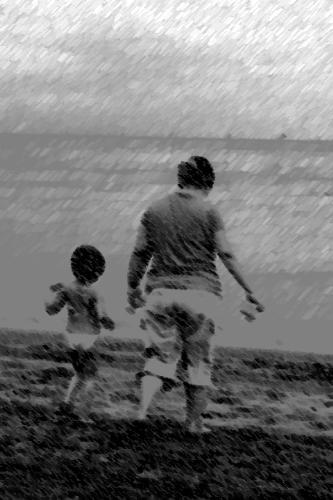 me and my daughter - strolling on the beach with my baby