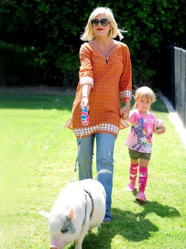 Tori Spelling - Tori Spelling and her daughter walking the pet pig!