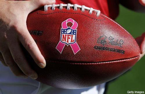 NFL football - The offical NFL football used last October during Breast Cancer awareness Month.