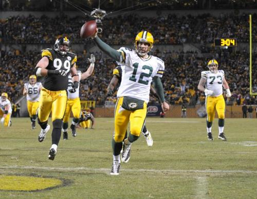 Aaron Rodgers - Aaron Rodgers running in for Touchdown when we played the Pittsburgh Steelers in 2009.