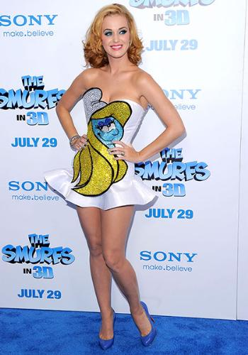Katy Perry - Katy Perry in a Smurfette dress! I think it is cute!