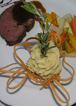 Decorated mashed potato with schynige platte - It is one of the recipe I have prepared.