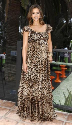Jessica Alba - A very pregnant Jessica Alba! She looks great in this leopard print dress!
