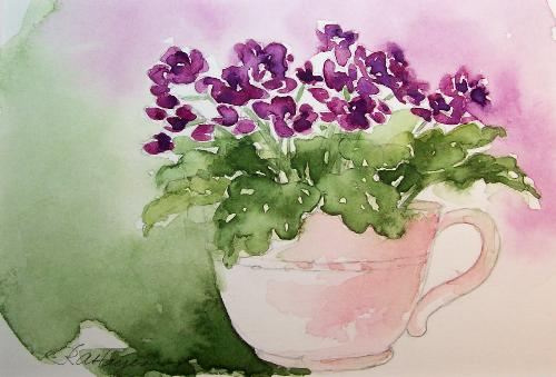 African violets  - A beautiful painting of African violets...
